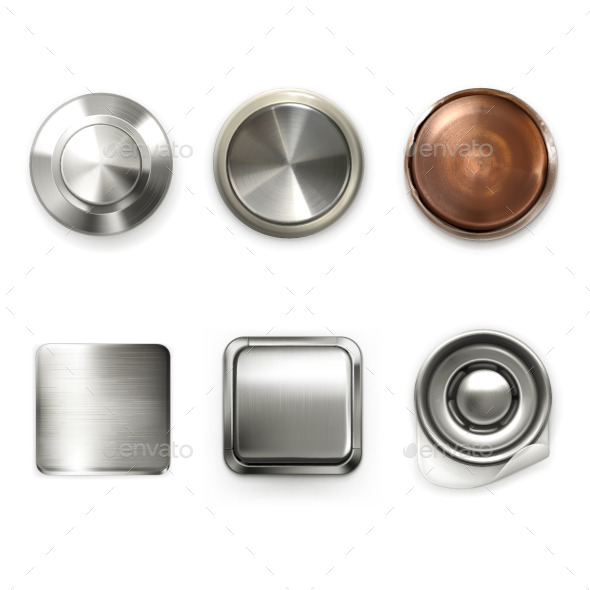 Detailed Metal Buttons - Decorative Symbols Decorative