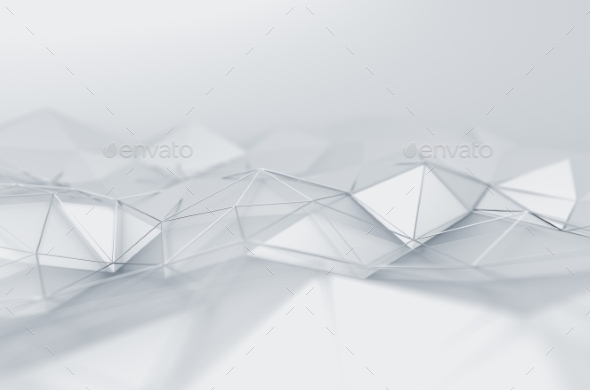 Abstract 3D Rendering Of Low Poly White Surface. - 3D Backgrounds