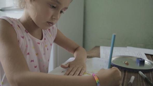 Girl Is Doing Homework For Elementary School