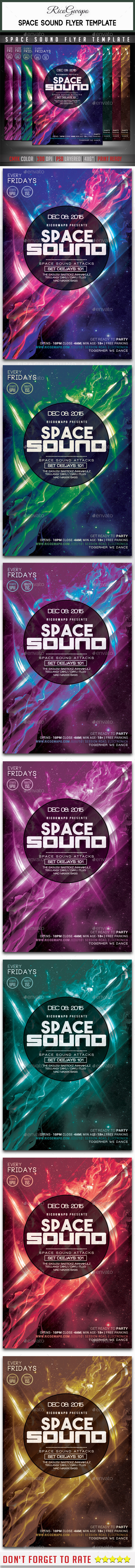 Space Sound Flyer Template - Flyers Print Templates