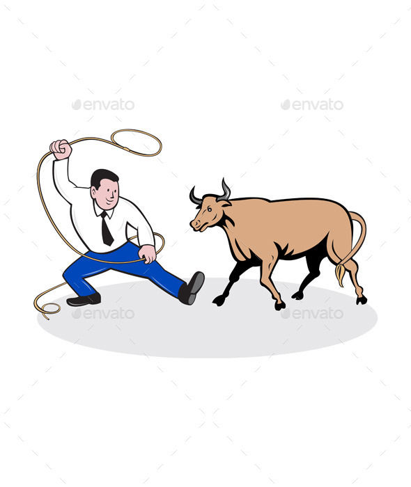 Businessman Holding Lasso Bull Cartoon - People Characters