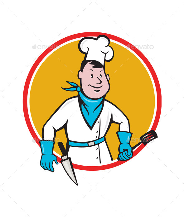 Chef Holding Spatula Knife Circle Cartoon - People Characters