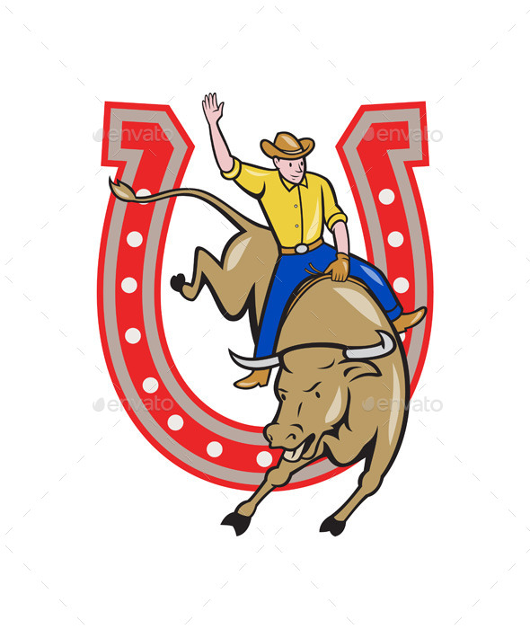 Rodeo Cowboy Bull Riding Horseshoe Cartoon - Sports/Activity Conceptual