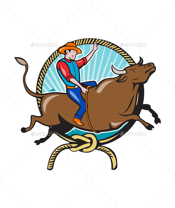 Rodeo Cowboy Bull Riding Lasso Cartoon - Sports/Activity Conceptual