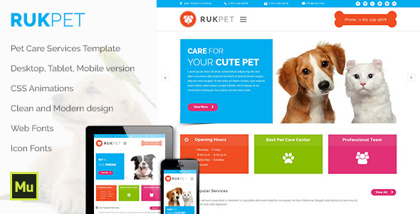 Rukpet – Pet Care Services Template