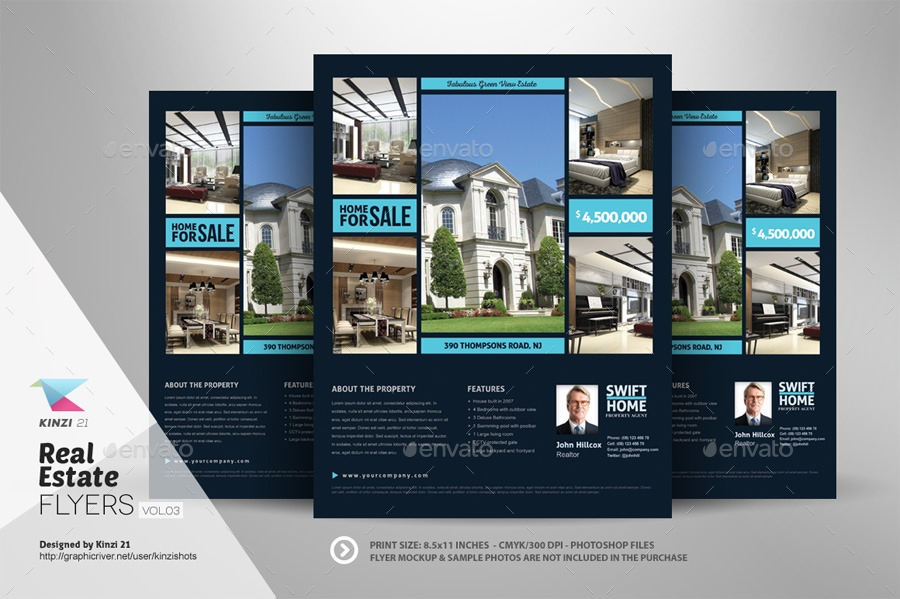 Real Estate Flyer Templates Vol By Kinzishots GraphicRiver - Real estate brochure templates