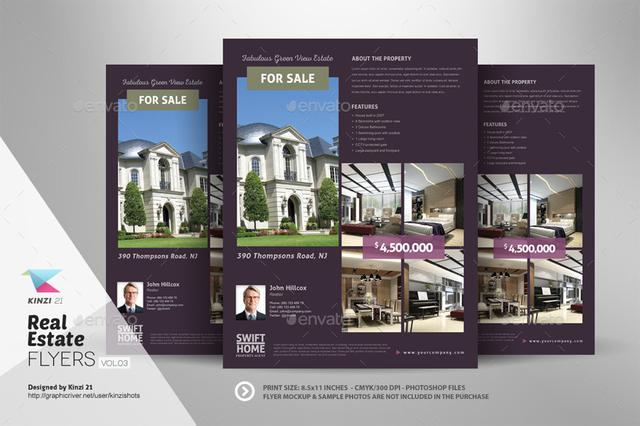 Real Estate Flyer Templates Vol By Kinzishots GraphicRiver - Free real estate brochure templates