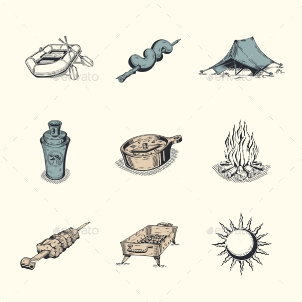 Set of Different Hiking Icons - Travel Conceptual