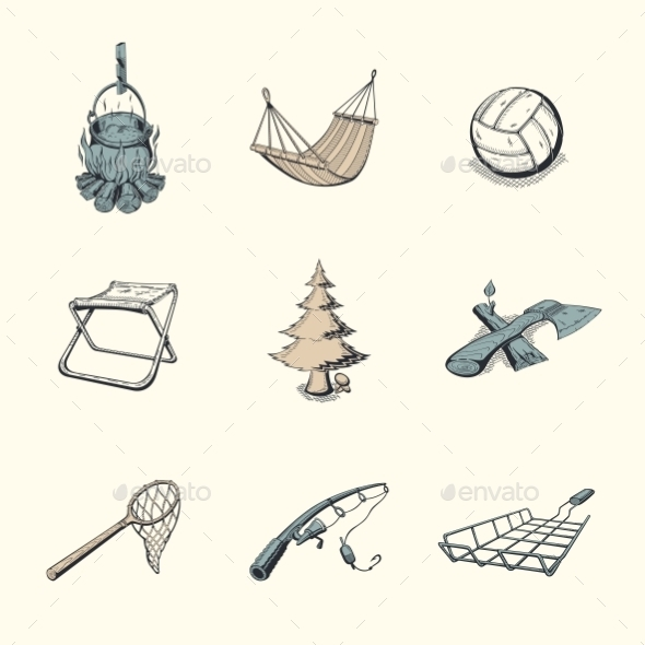 Set of Different Camping Icons  - Sports/Activity Conceptual
