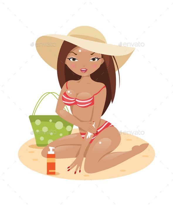 Girl in a Bikini on the Beach - People Characters