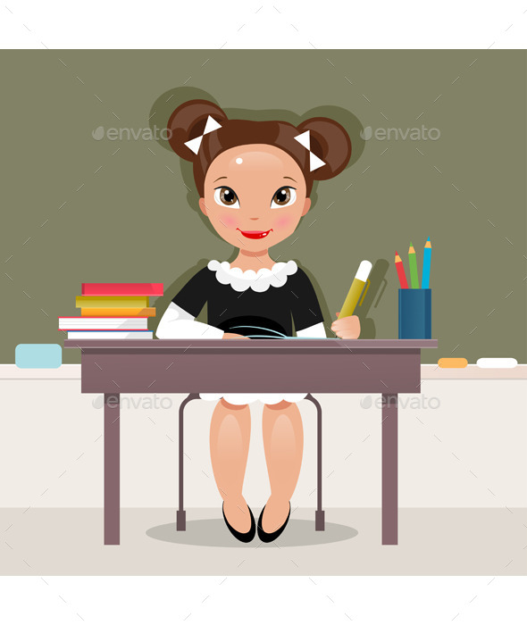 Schoolgirl at the Desk - People Characters