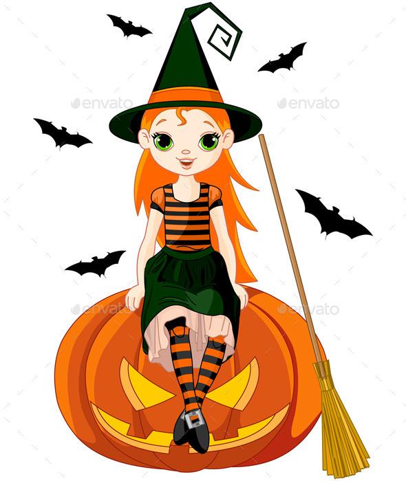 Little Halloween Witch on Pumpkin - Halloween Seasons/Holidays