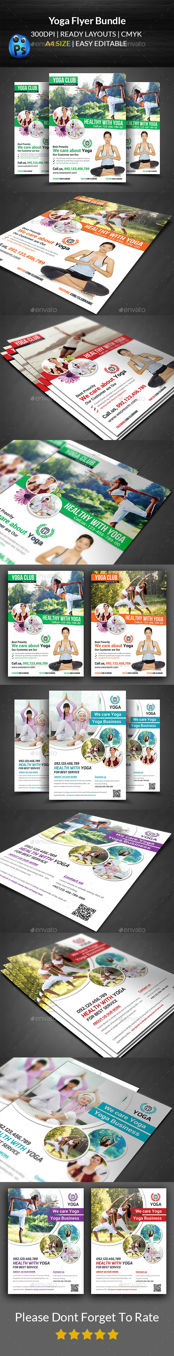 Yoga Flyer Template Bundle  - Flyers Print Templates
