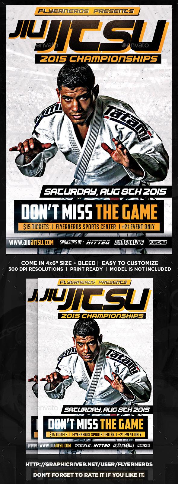 Jiu Jitsu Fight Championships Sports Flyer - Sports Events