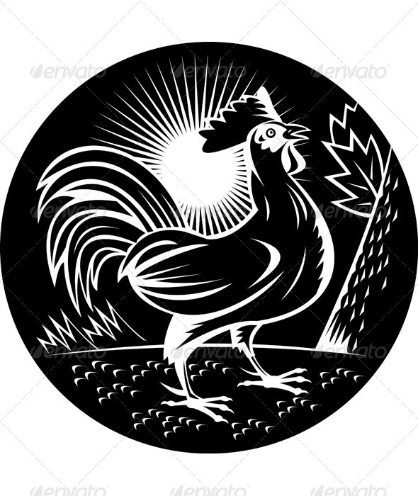 Rooster Cockerel Cock Crowing Woodcut Style - Animals Characters