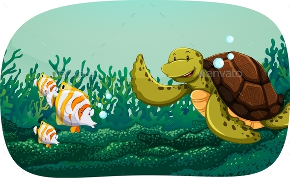 Turtle and Fish - Animals Characters
