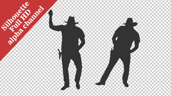 Silhouette of a Man Dancing in Cowboy Hat
