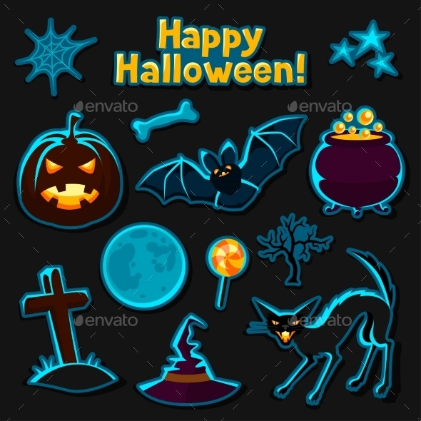 Happy Halloween Sticker Set With Characters - Seasons/Holidays Conceptual