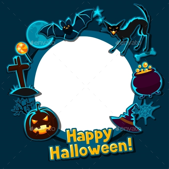 Happy Halloween Greeting Card With Stickers - Seasons/Holidays Conceptual