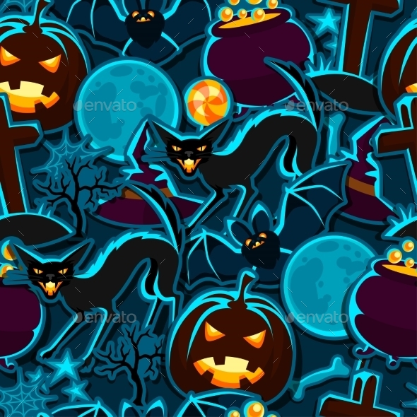 Happy Halloween Seamless Pattern With Stickers - Seasons/Holidays Conceptual