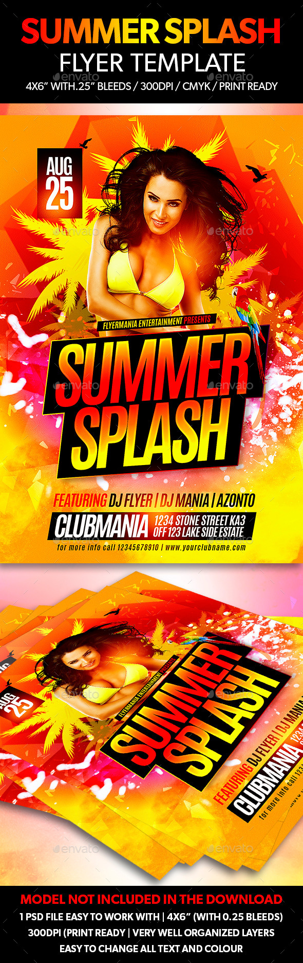 Summer Splash Flyer Template - Clubs & Parties Events