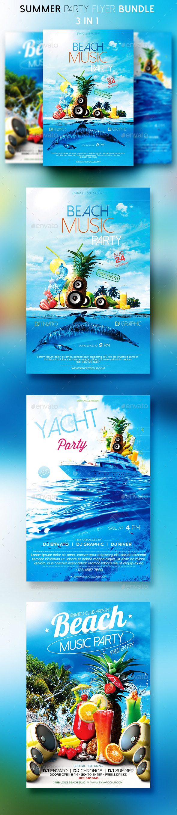 Summer Party Flyers Bundle - Clubs & Parties Events
