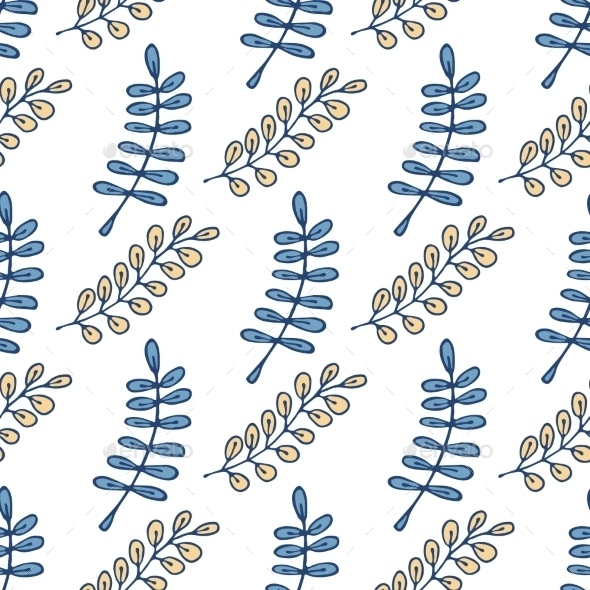 Seamless Pattern With Leaves.  - Flowers & Plants Nature