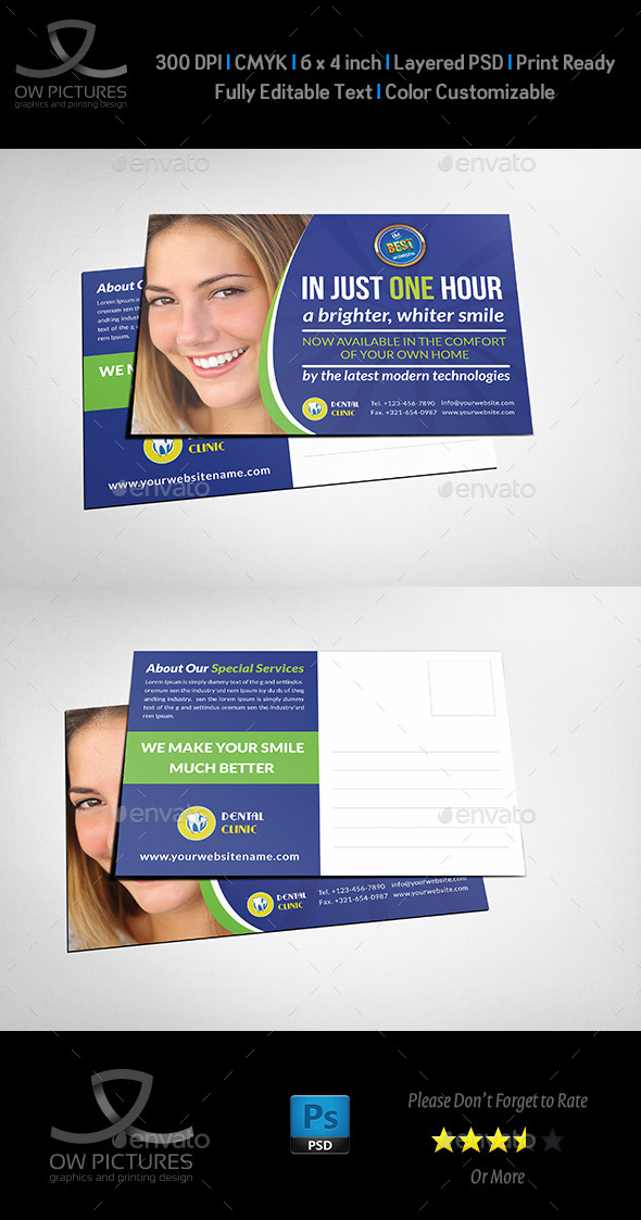 Dental Clinic Postcard Template - Cards & Invites Print Templates