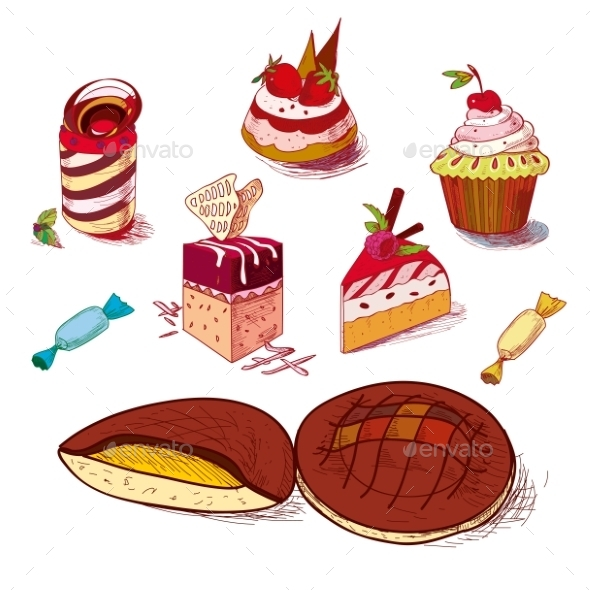 Hand Drawn Confections Dessert Pastry Bakery - Food Objects