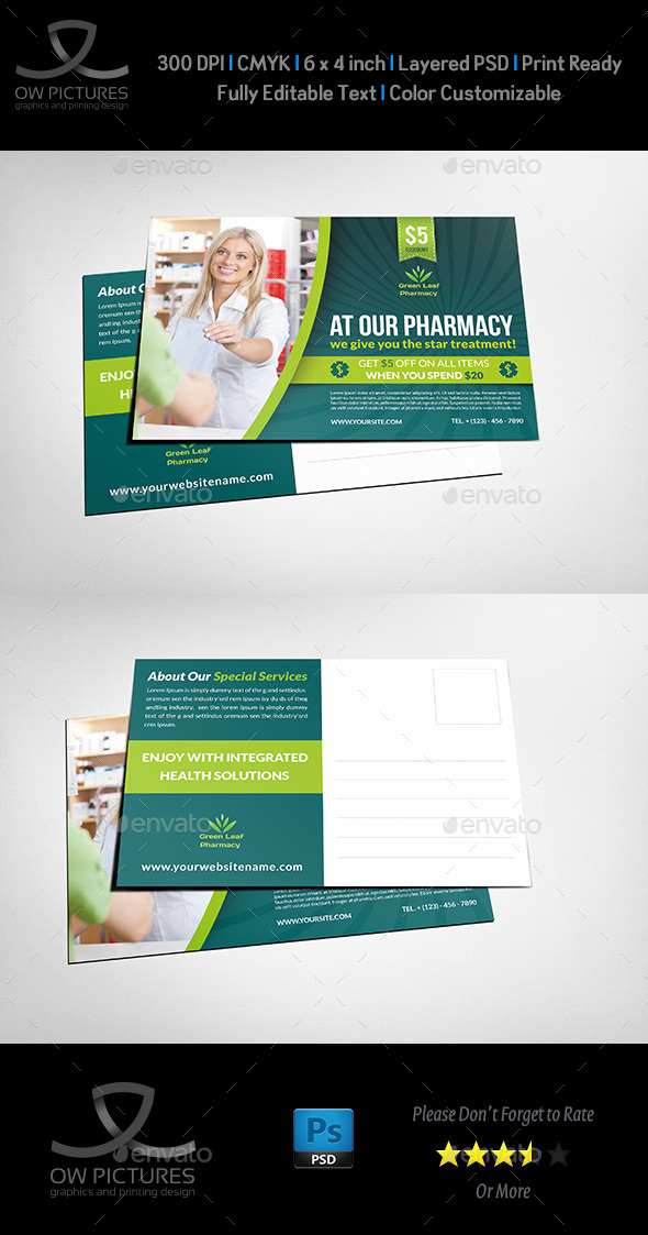 Pharmacy Postcard Template Vol.2 - Cards & Invites Print Templates