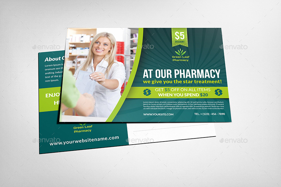 Pharmacy Postcard Template Vol By OWPictures GraphicRiver - Postcard flyer template