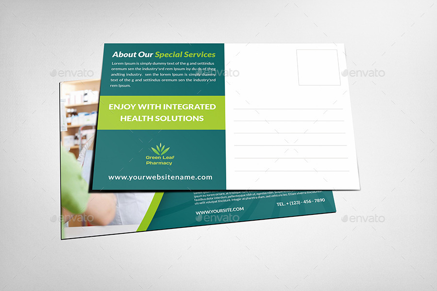 Pharmacy Postcard Template Vol By OWPictures GraphicRiver - Postcard advertising template
