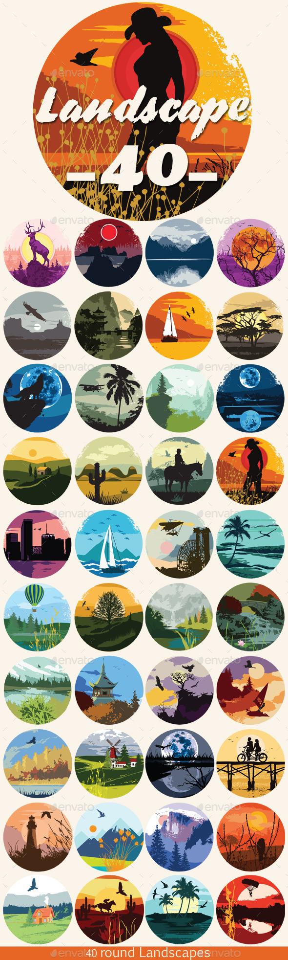40 Round Landscape Set - Landscapes Nature