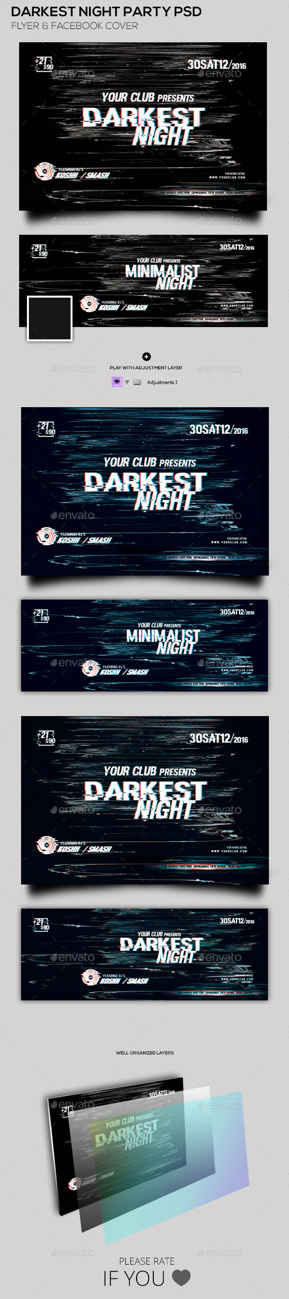 Darkest Night Party Flyer & Facebook Cover - Clubs & Parties Events