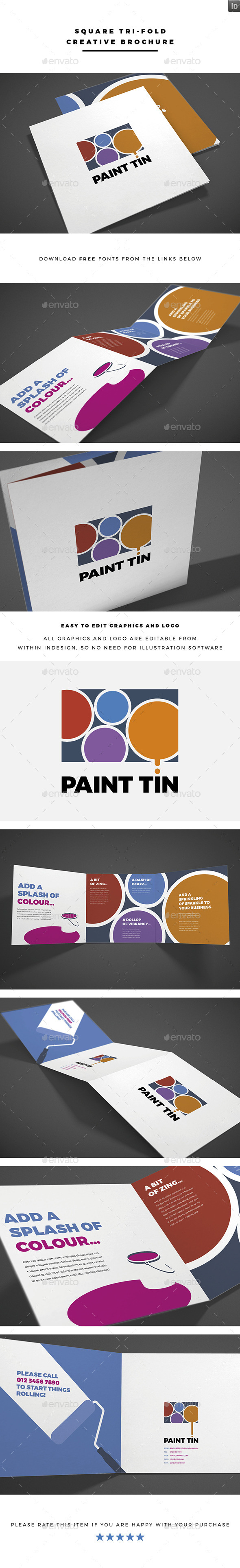 Square Tri-fold Creative Brochure Vol.3 - Brochures Print Templates