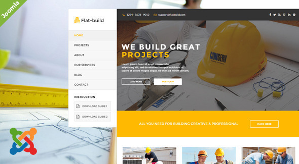Flatbuild – Construction Joomla Template