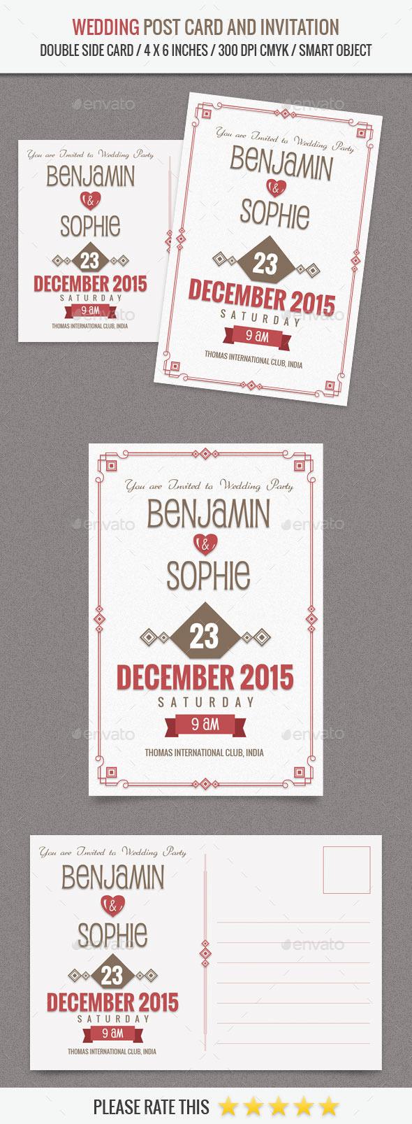 Wedding Invitation Post Card Template - Weddings Cards & Invites