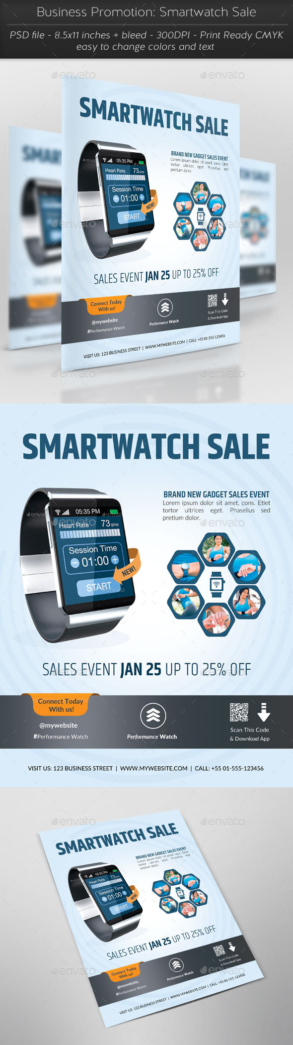 Business Promotion: Smartwatch Sale - Flyers Print Templates