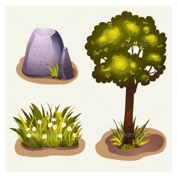 Set Of Game Environment Elements - Landscapes Nature