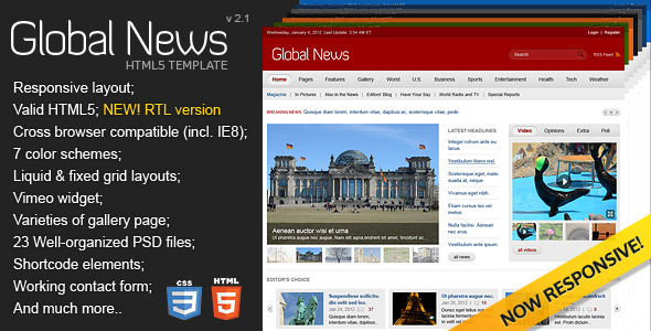 Global News Portal – HTML5 & CSS3 Template