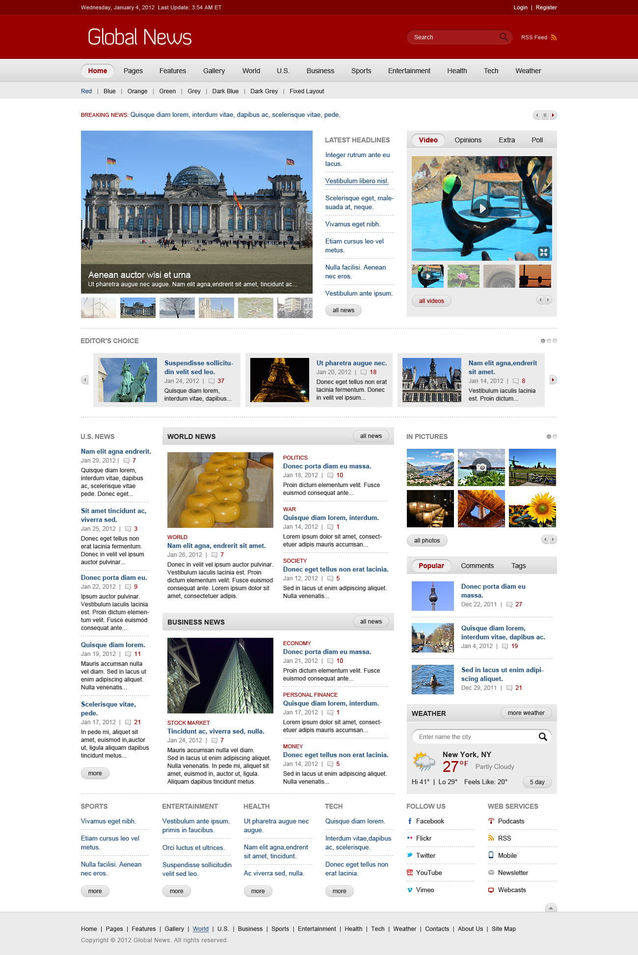 Global news portal html5 css3 template