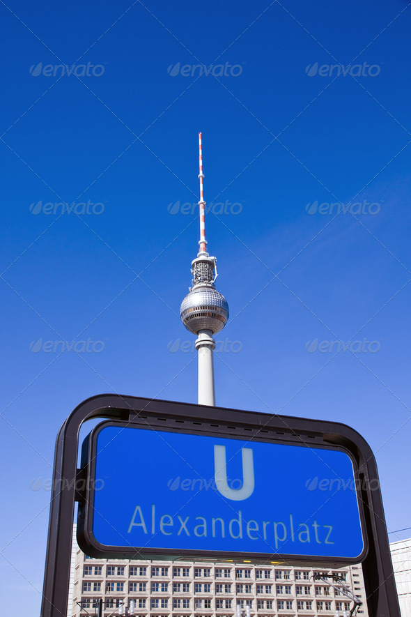 Subway sign and TV-Tower in Berlin - Stock Photo - Images