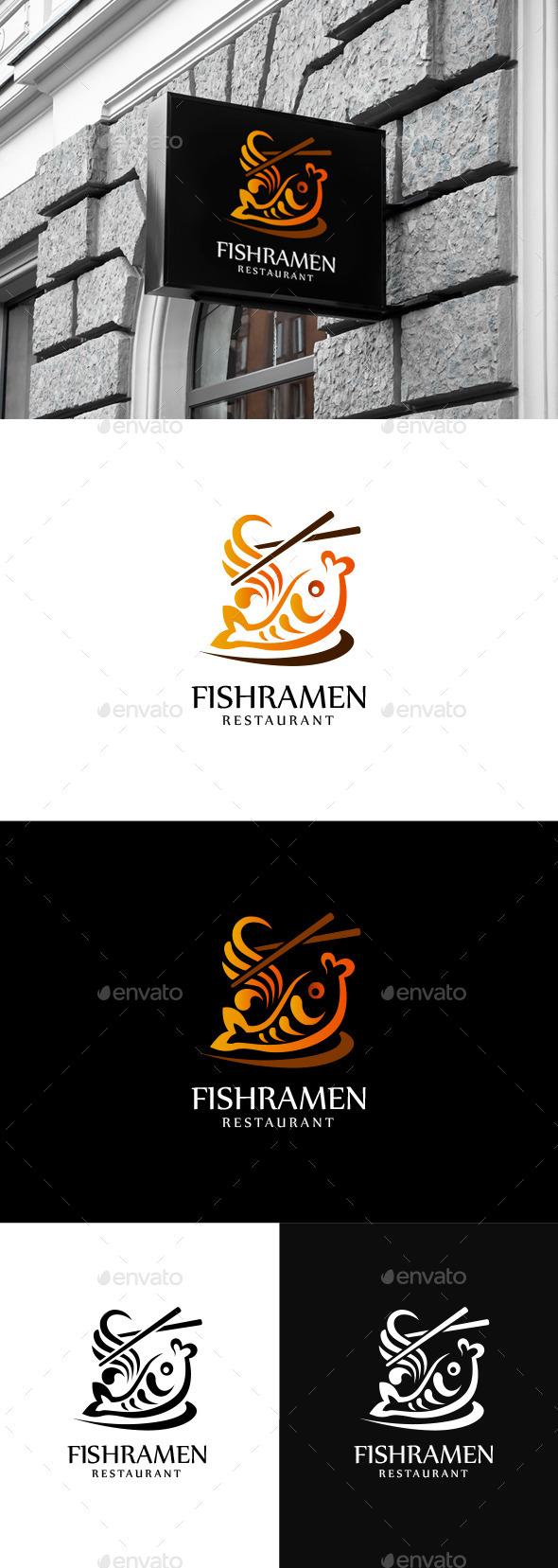 Fish Ramen - Restaurant Logo Tmeplate - Symbols Logo Templates