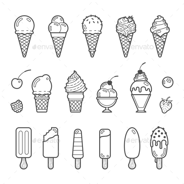Vector Icon Set Of Yummy Ice Cream - Food Objects