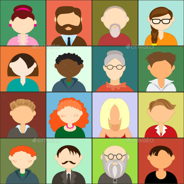 Avatars Illustration Icons - People Characters
