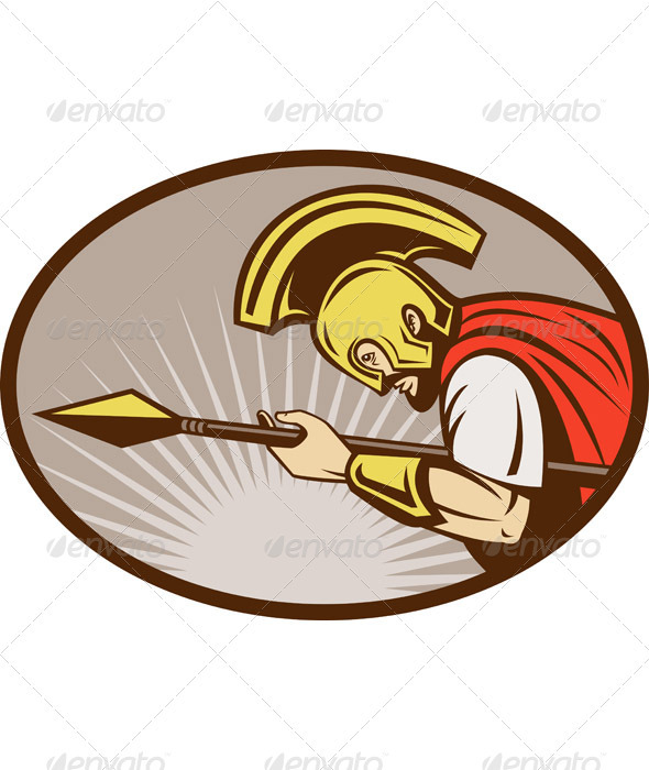 Roman Soldier Centurion With Spear - People Characters
