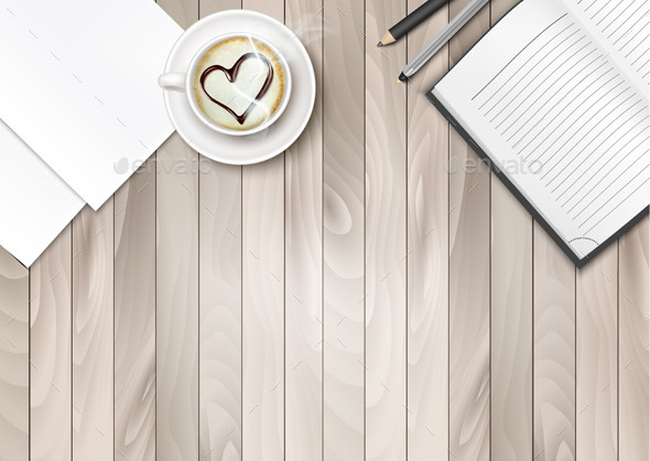 Cup of Coffee With Shape Heart And Notebook - Business Conceptual