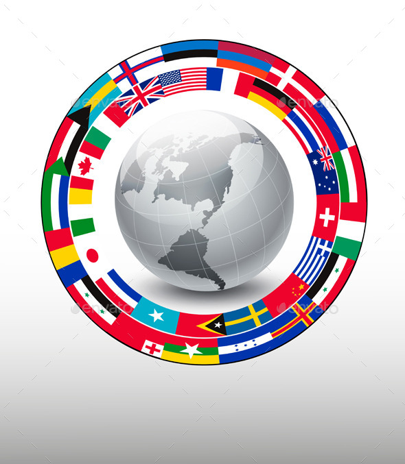 Travel Background Globe With A Strip Of Flags - Travel Conceptual