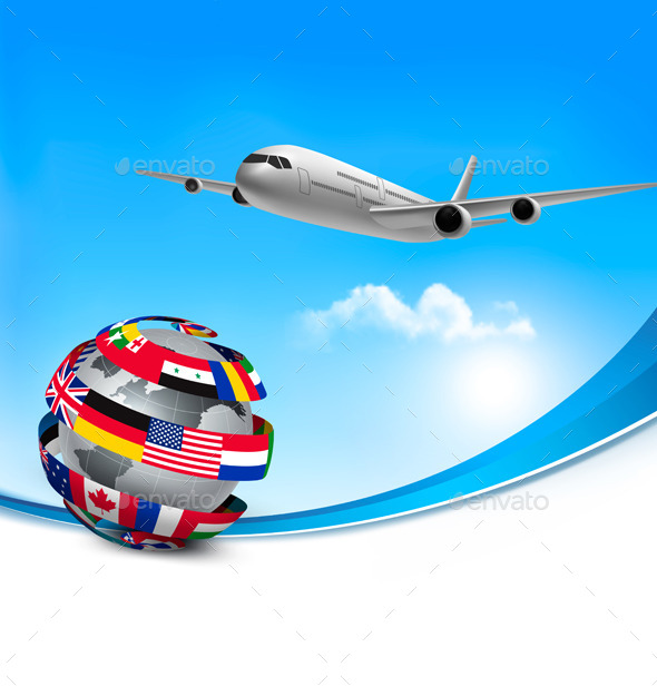 Travel Background With An Airplane And A Globe - Travel Conceptual