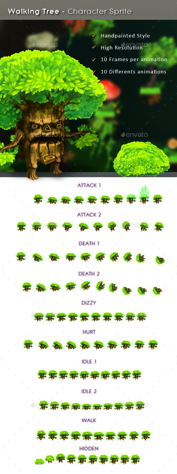Walking Tree - Character Sprite - Sprites Game Assets